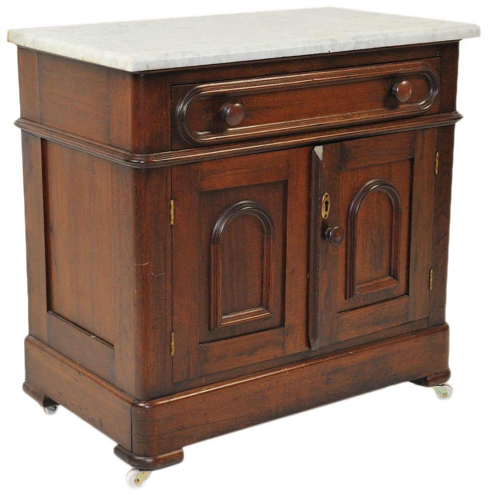 8: A DIMINUTIVE MARBLE TOP MAHOGANY CABINET WITH DRAWER