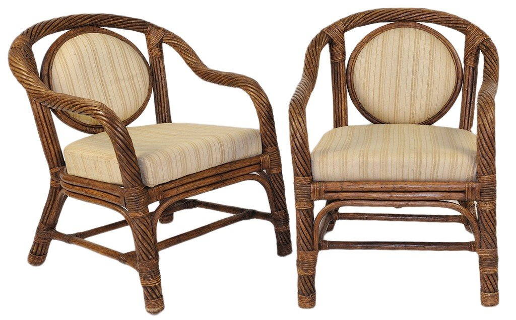 10: A PAIR OF 1930's TWISTED REED ARM CHAIRS WITH CIRCU