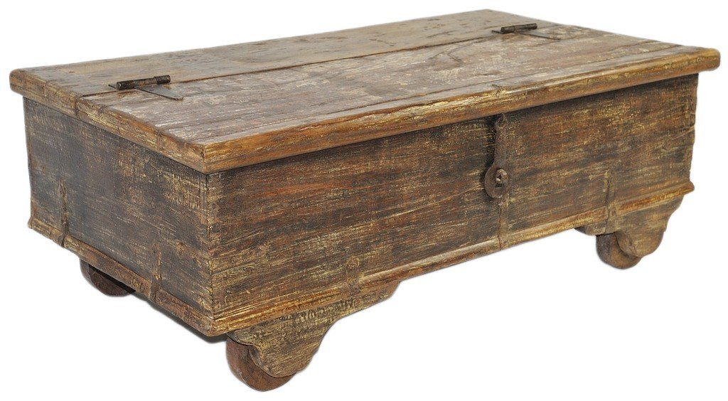 14: A RARE 1820's SOLID TEAK WOOD CHEST WITH ORIGINAL H