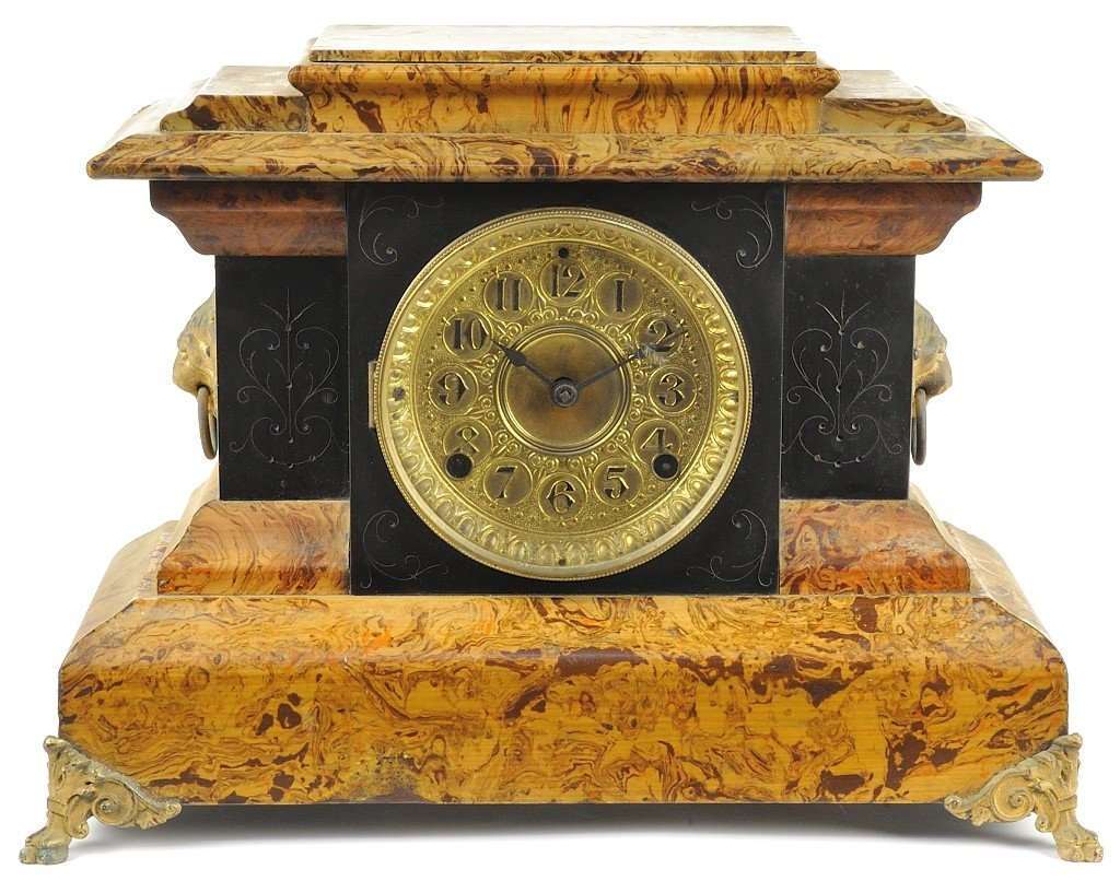 22: ANTIQUE SETH THOMAS OLIVE WOOD AND BRASS MANTLE CLO
