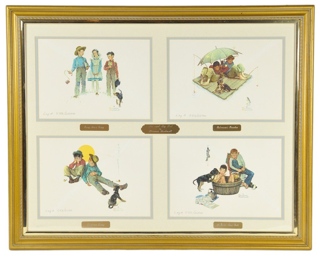 23: SET OF 4 PRINTS IN ONE FRAME NORMAN ROCKWELL