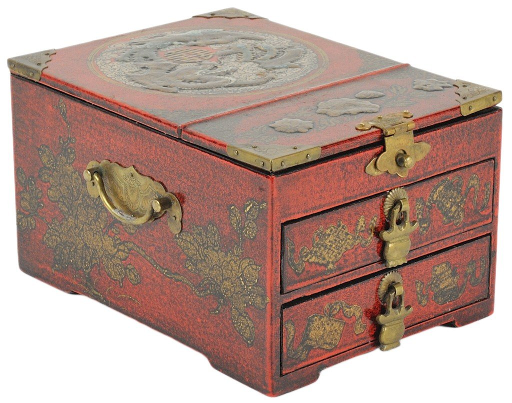 24: A CHINESE EXPORT RED LACQUER AND RAISED GILT TWO DR