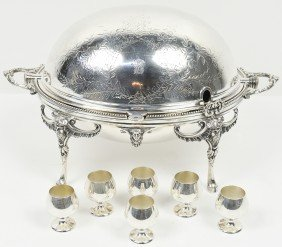 SILVER PLATE OVAL COVER DISH AND A SET OF SIX GORHA