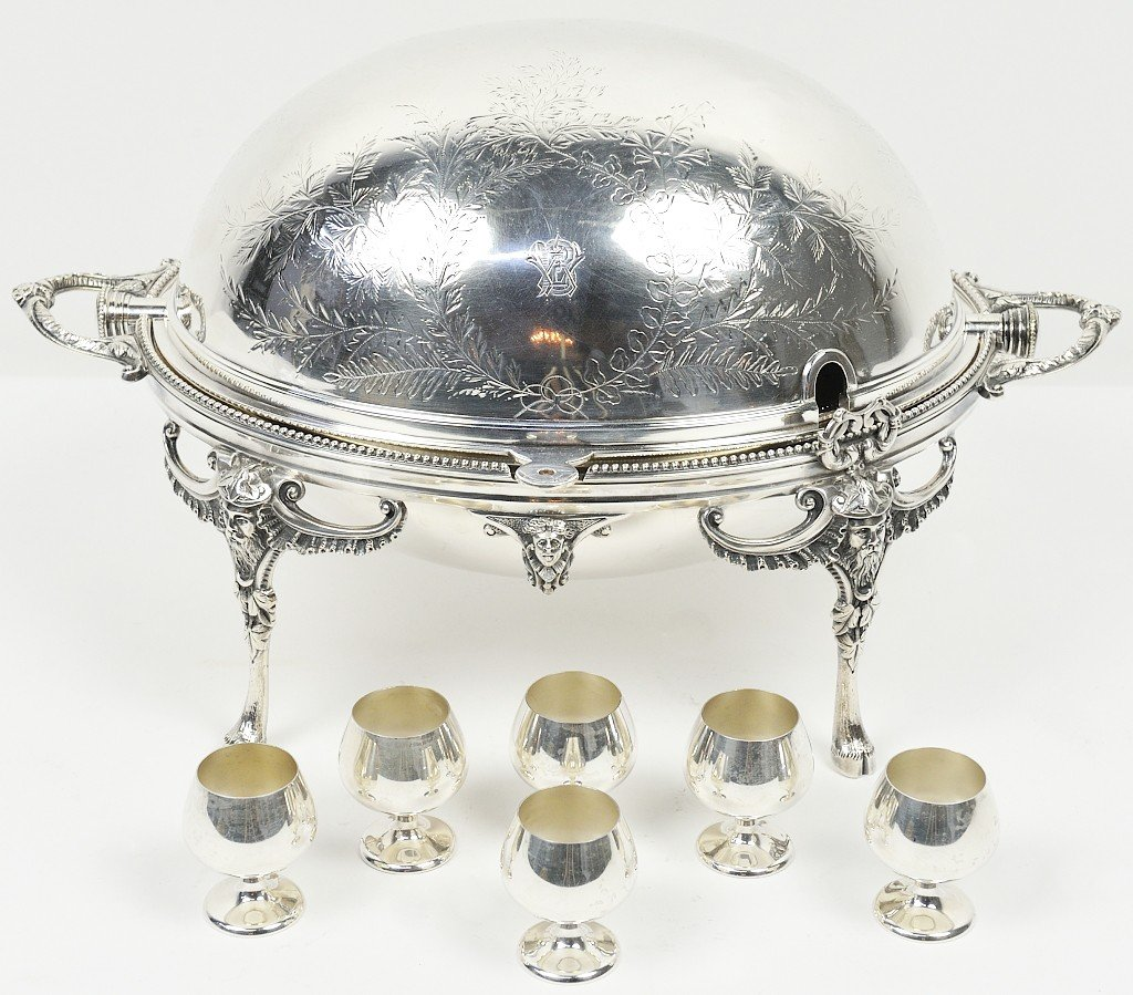47: SILVER PLATE OVAL COVER DISH AND A SET OF SIX GORHA