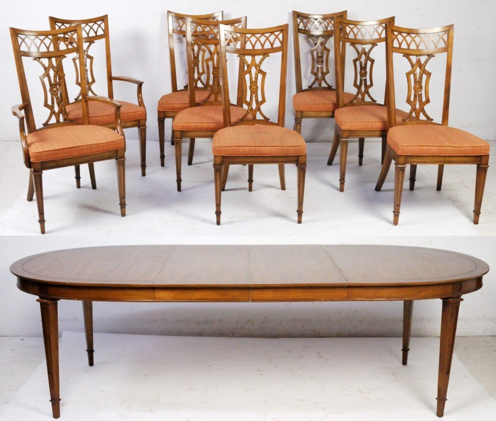60: WALNUT TABLE WITH SET OF 8 CHAIRS AND TWO LEAVES
