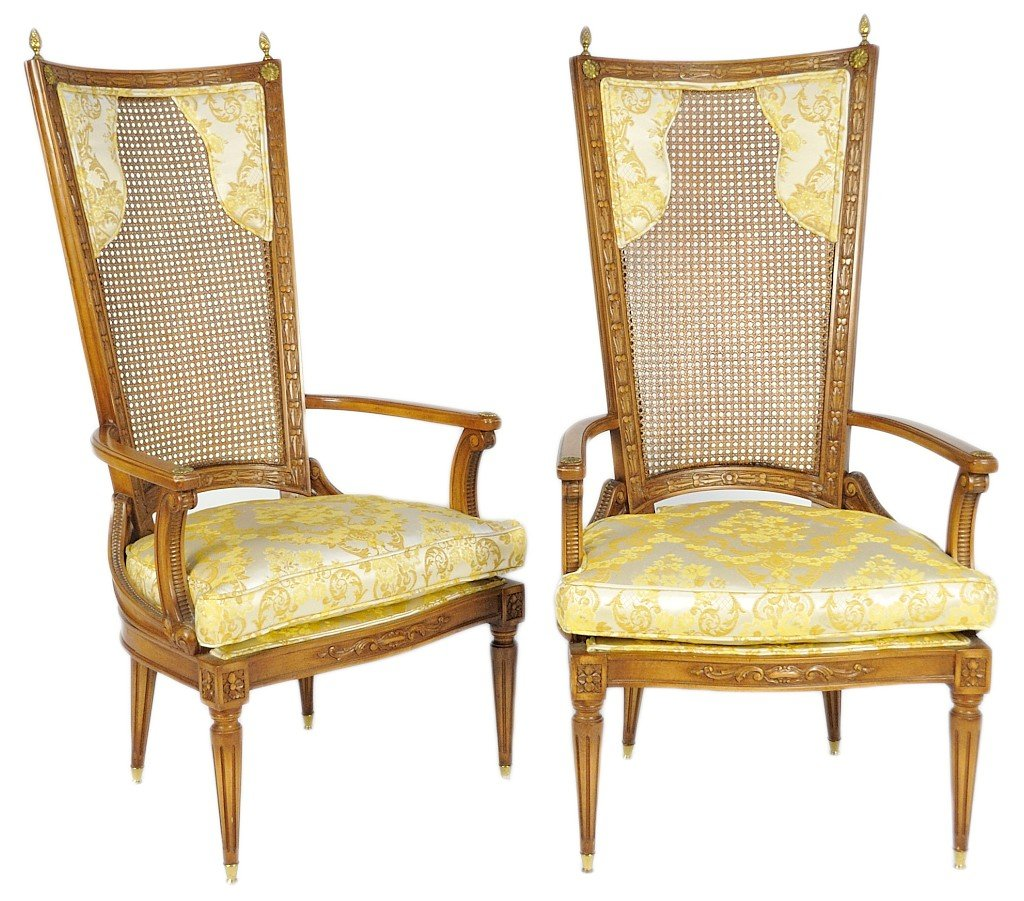 67: PAIR OF 1970's WALNUT FINISH HIGH BACK CANE CHAIR W