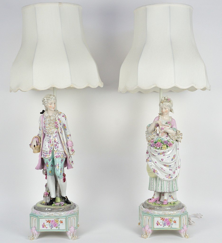 70: A PAIR OF LAMPS DRESDEN STYLE FIGURAL PORCELAIN STA