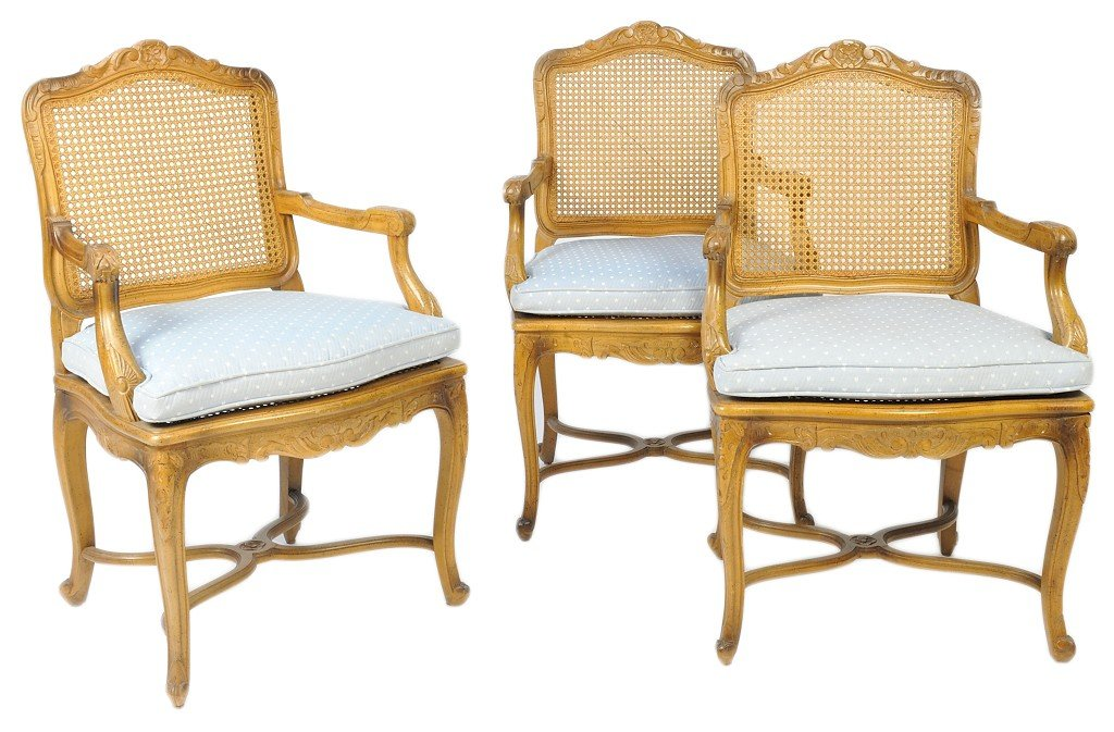 72: THREE MID CENTURY LOUIS XV STYLE CANE FAUTEUILS WIT