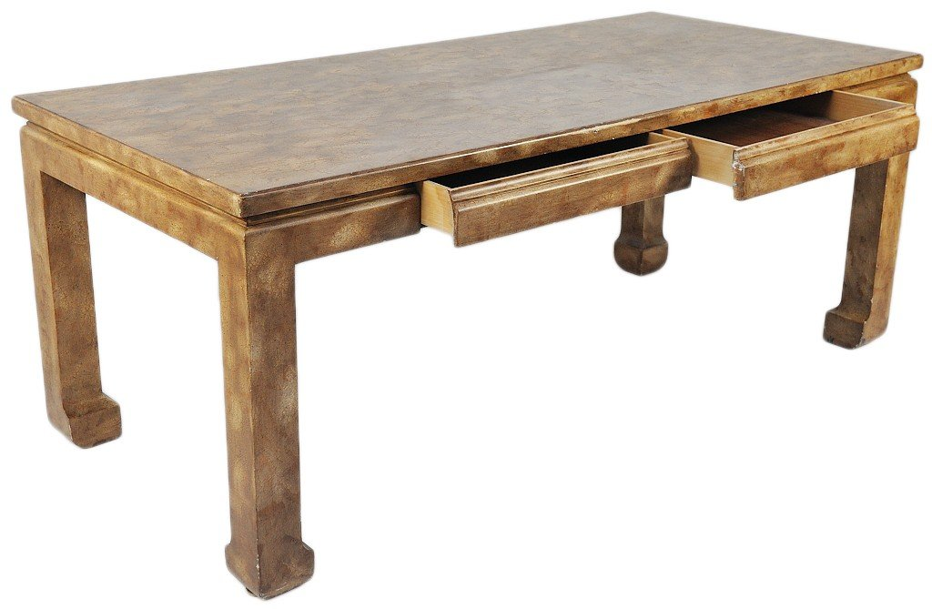 184: A CHINESE STYLE CRACKLE LACQUER TABLE DESK WITH IN - 3