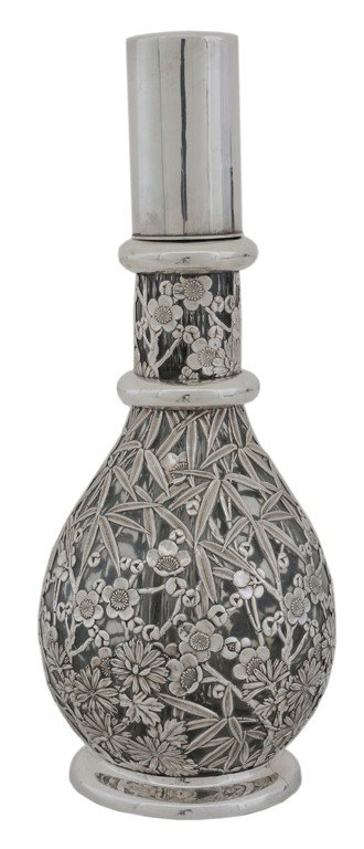 1: A FRENCH PRESSED GLASS DECANTER WITH STERLING SILVER