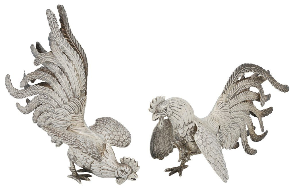 2: A PAIR OF PERUVIAN STERLING SILVER FIGHTING COCKS, 2