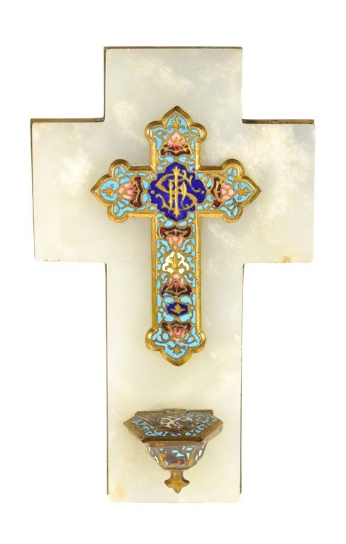 24: A FRENCH CLOISONNE CROSS WITH HOLY WATER FOUNTAIN