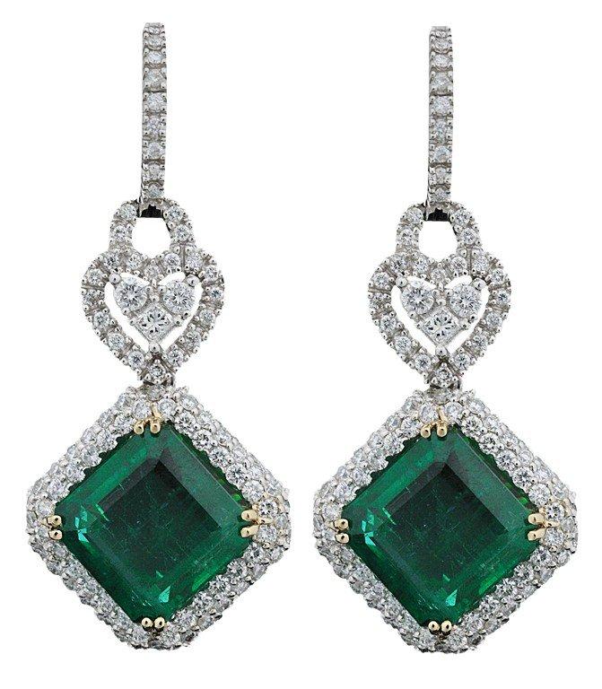 59: 18K White Gold, Diamond and Emerald Earrings. Two E