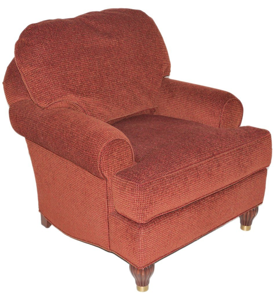 9: A CHENILLE UPHOLSTERED CLUB CHAIR BY STANFORD