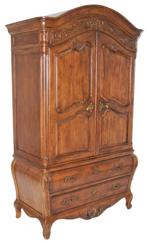 13: A LOUIS XV STYLE MAHOGANY ARMOIRE ON TWO DRAWER BOM