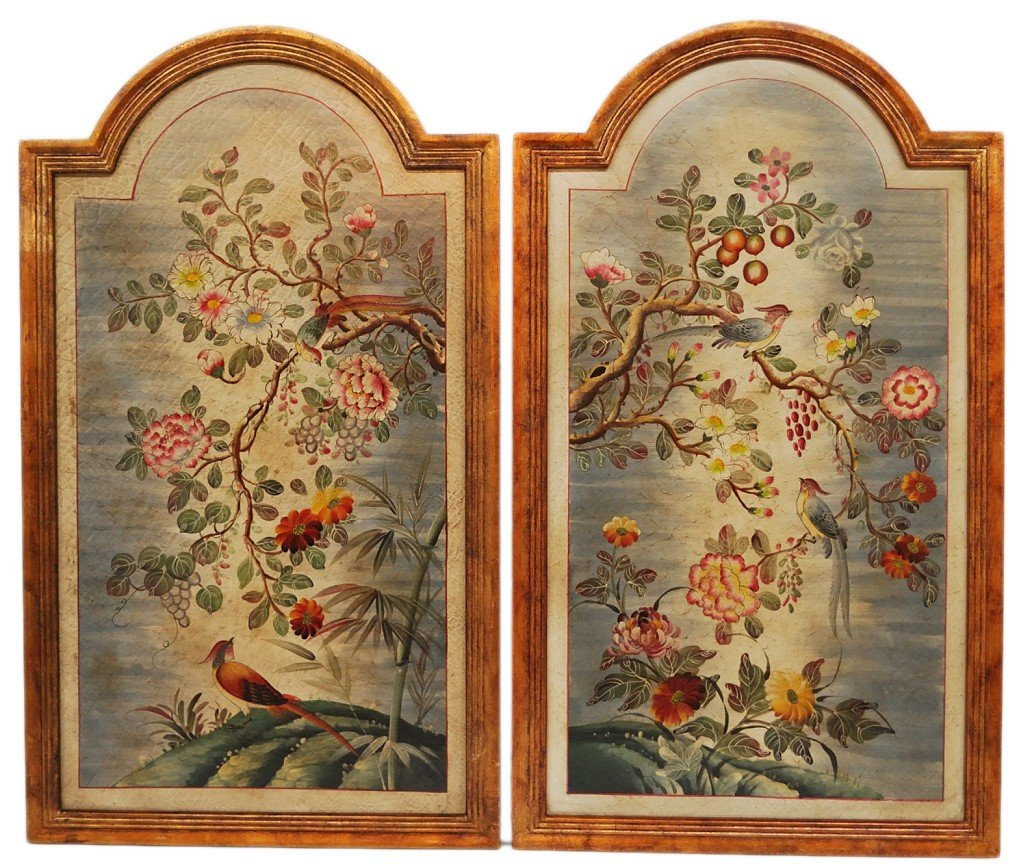 16: A PAIR OF HAND PAINTED PANELS WITH ANTIQUED AND CRA