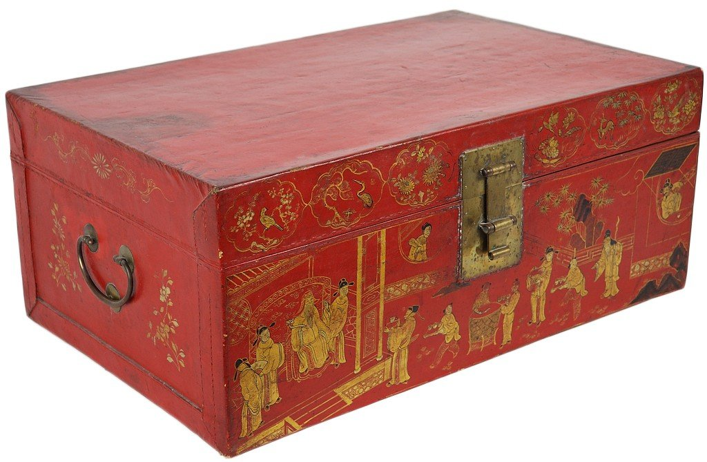 21: A 19TH CENTURY CHINESE PIGSKIN TRAVELING TRUNK