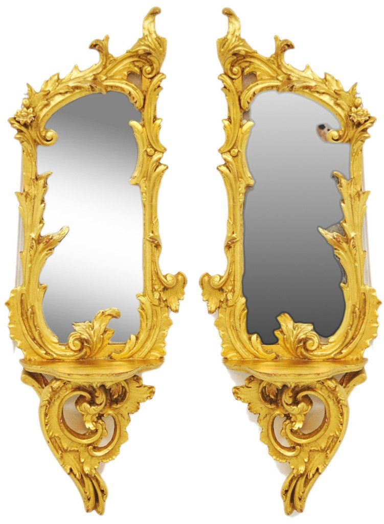 37: A PAIR OF ITALIAN BAROQUE WALL MIRRORS WITH SCONCE