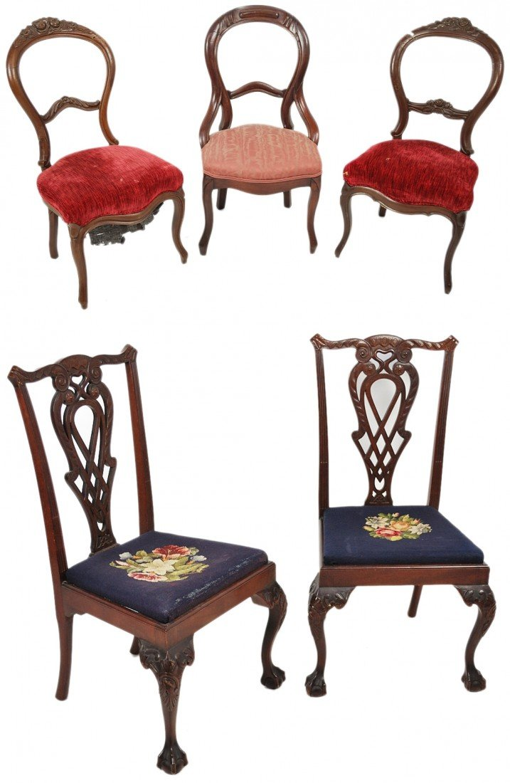 23: A GROUP OF FIVE ANTIQUE CHAIRS
