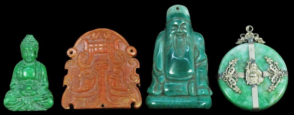 117: FOUR CHINESE CARVED JADE FIGURES