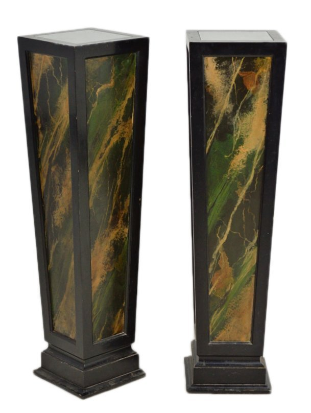 4: A PAIR OF MARBELIZED PEDISTALS WITH LIGHTS