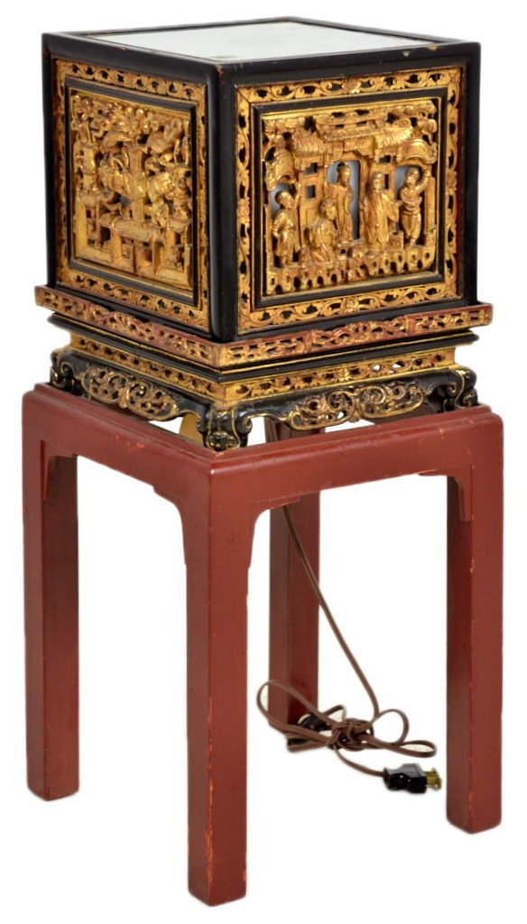 6: A LACQUER AND GILT CARVED CHINESE STYLE LANTERN