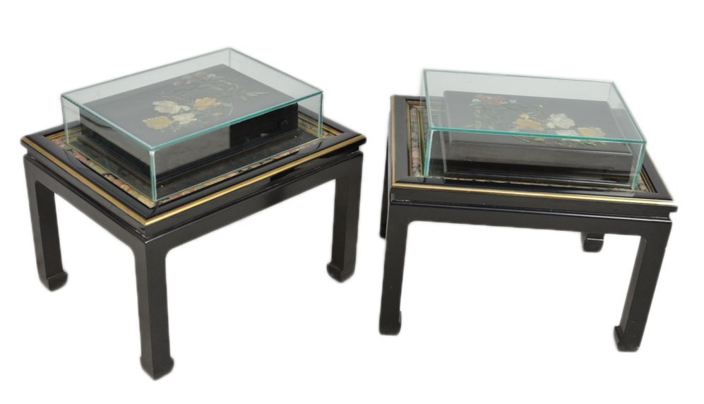 7: PAIR OF END TABLES WITH ASIAIN FLORAL STONE INLAY