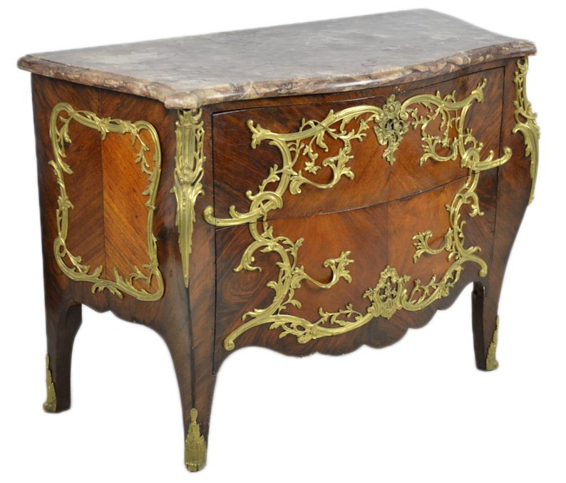 8: 19TH CENTURY LOUIS XV STYLE WALNUT COMMODE WITH MARB