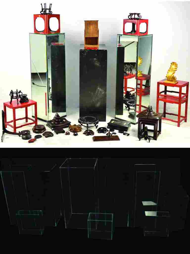 9: A LARGE LOT OF DECORATIVE DISPLAY STANDS AND CUBES