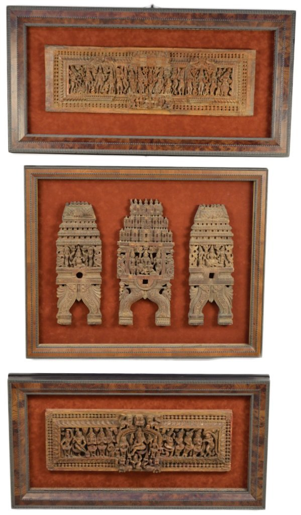 11: A GROUP OF THREE FRAMED ANTIQUE WOOD CARVINGS