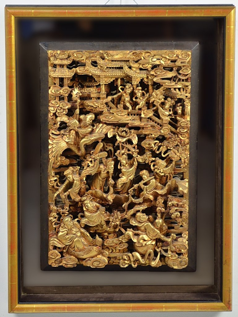 12: A LARGE ANTIQUE CARVED AND GILT CHINESE PANEL