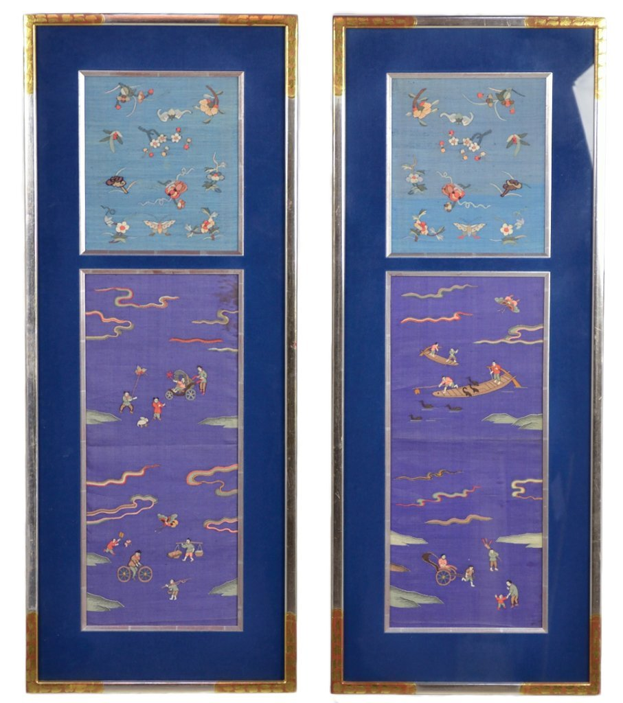 13: CUSTOM FRAMED ANTIQUE CHINESE EMBROIDERED PANELS