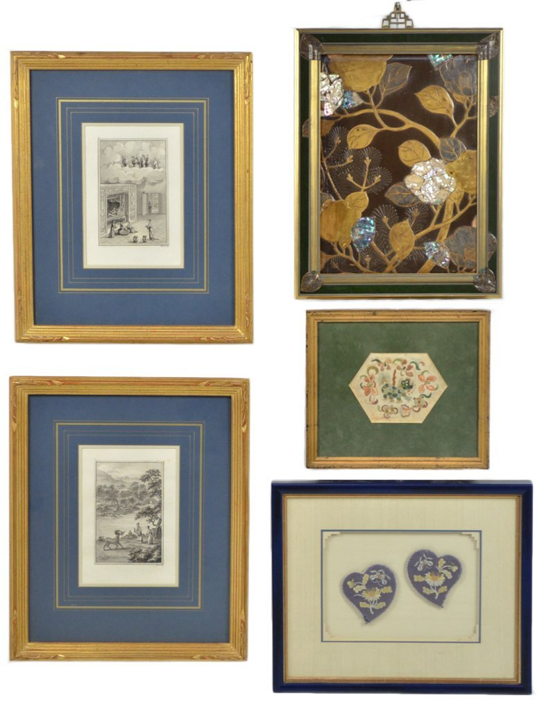 15: A FIVE PIECE GROUP OF FRAMED ANTIQUE ASIAN DECORATI