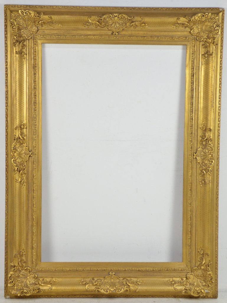 17: A MUSEUM STYLE GILT GESSO OVER WOOD FRAME