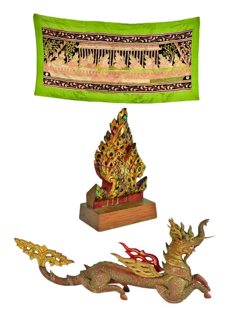 18: A GROUP OF THAI DECORATIVE CRAFTS AND THREE WOOD CA