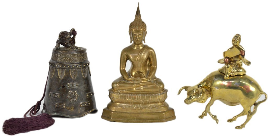 20: A TRIO OF ASIAN DECORATIVE METAL OBJECTS
