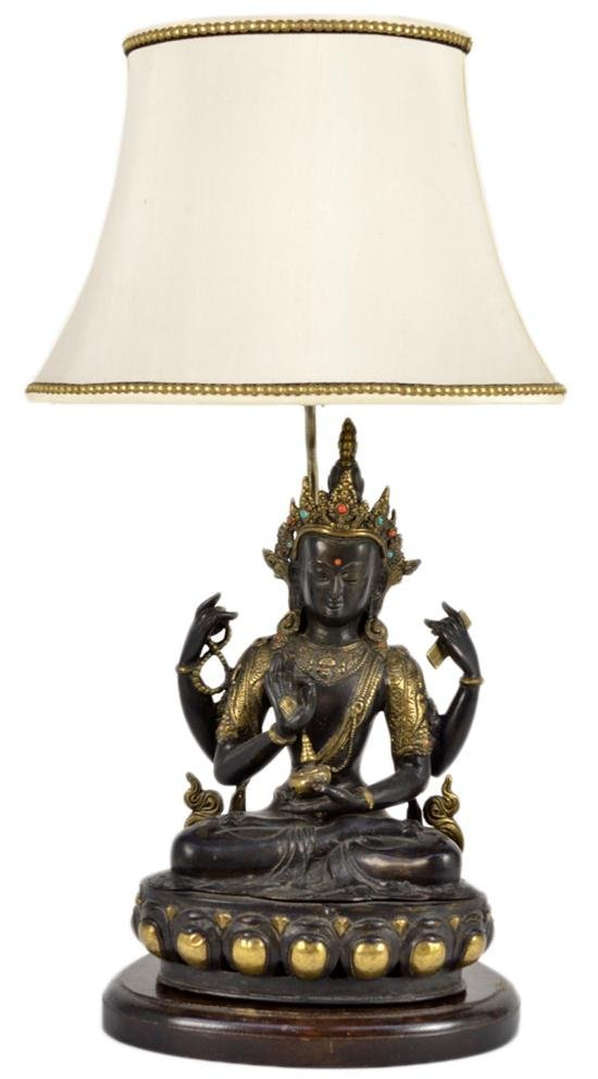 24: CUSTOM LAMP WITH A SEATED TIBETAN BUDHA IN GILT BRO
