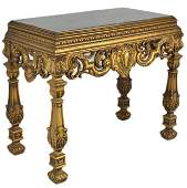 59: A LOUIS XVI STYLE CARVED AND GILT MARBLE TOP CONSOL