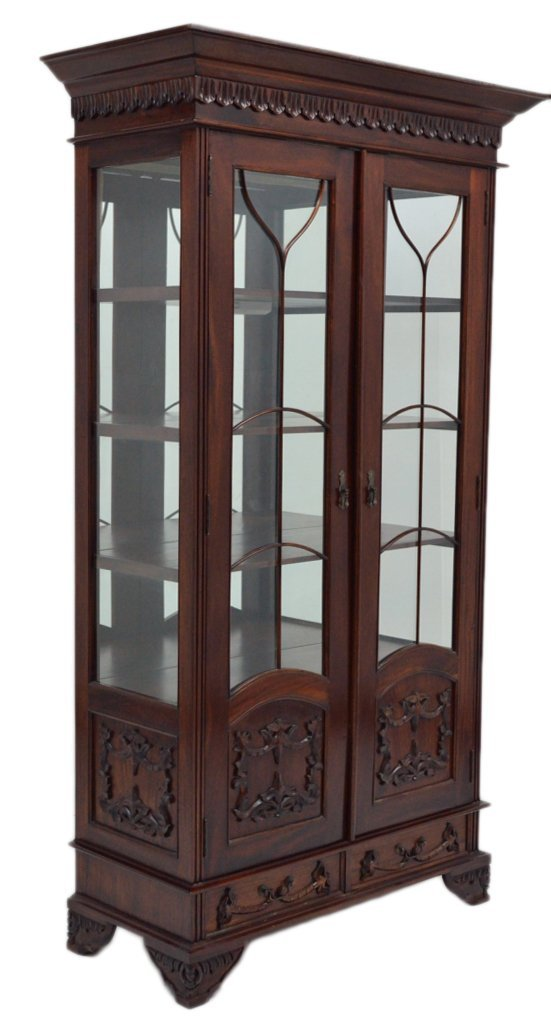 89: HAND CARVED MAHOGANY DISPLAY CABINET