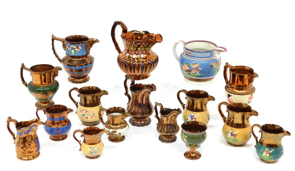 90: A 16 PIECE ANTIQUE LUSTREWARE COLLECTION