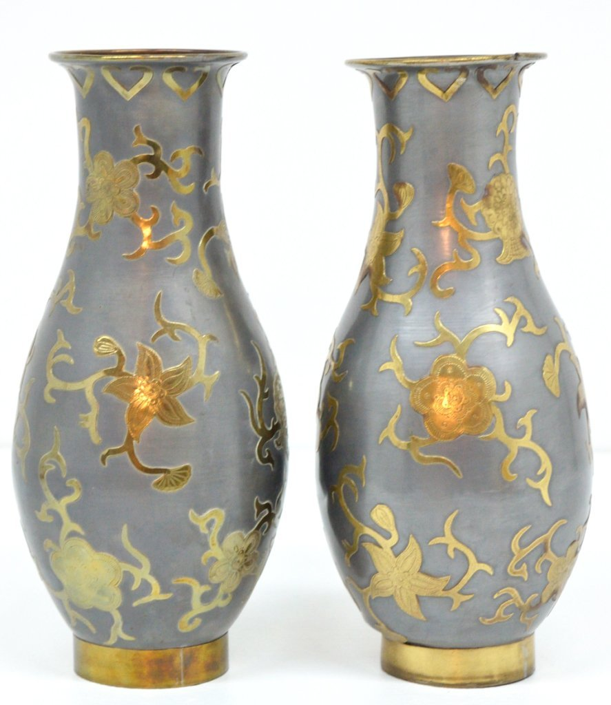 92: A PAIR OF ASIAN DECORATED METAL VASES FOR LAMPS