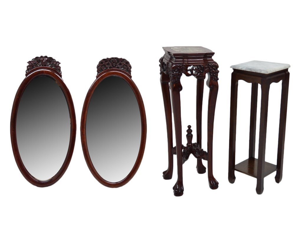 79: A PAIR OF ASIAN MIRRORS AND TWO PEDESTALS