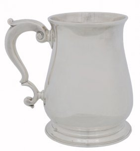 A RARE GEORGE II STERLING SILVER PLAIN PINT BALUSTE
