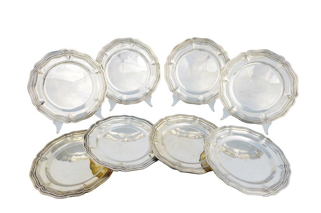 53: A SET OF EIGHT SANBORNS .925 STERLING SILVER SALAD/