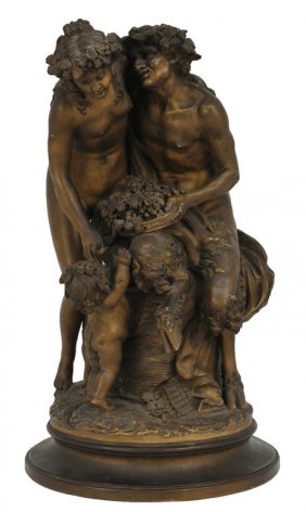 A TERRACOTTA SCULPTURE OF PAN AND A NYMPH Signed Cl