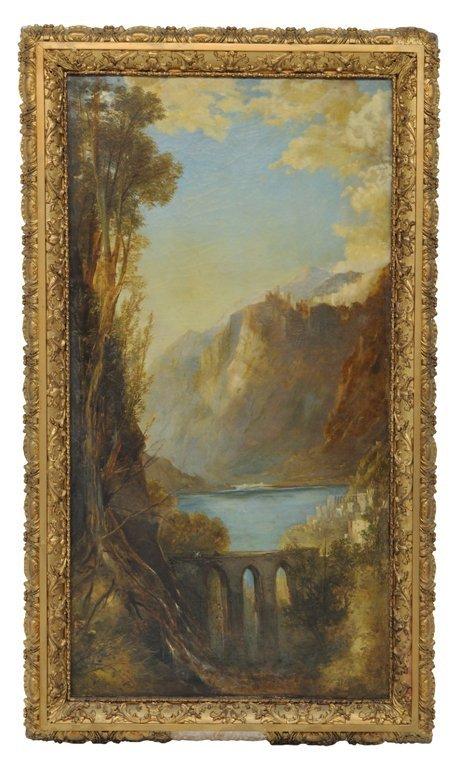 """60: UNSIGNED , American (19th Century), """"LAKE COMO"""", Oi"""