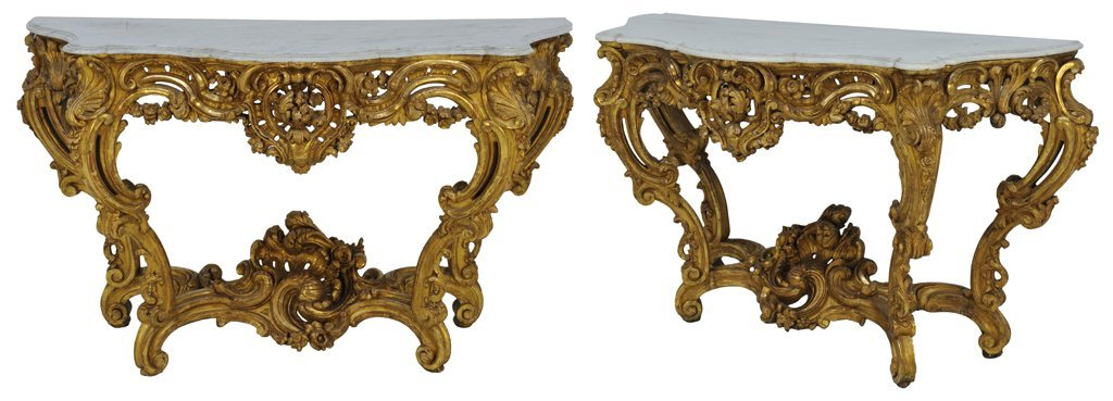 65: A GLORIOUS PAIR OF ITALIAN ROCOCO STYLE GILT CONSOL
