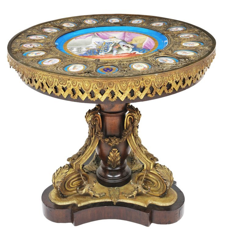 69: NAPOLEON III SEVRES STYLE PORCELAIN AND BRONZE CENT