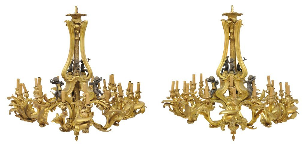70: A PAIR OF MONUMENTAL GILT AND PATINATED BRONZE TWEN