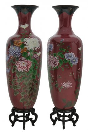A GOOD PAIR OF TEMPLE SIZE JAPANESE CLOISONN� VASE